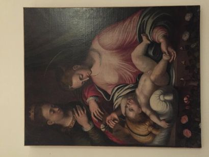 Ecole italienne, huile sur toile, Vierge...