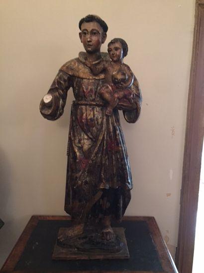 Saint Antoine de Padoue, sculpture en bois...