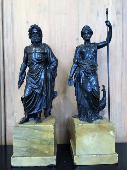 Jupiter et Athéna, sculptures en bronze patiné...