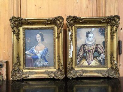 Deux gouaches en pendant «Reines de France»,...