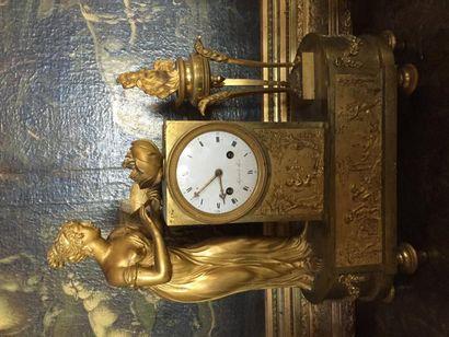 Pendule bronze ciselé doré, allégorie de...