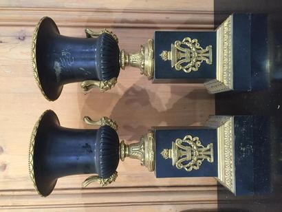 Paire de grands vases Médicis en bronze patiné...