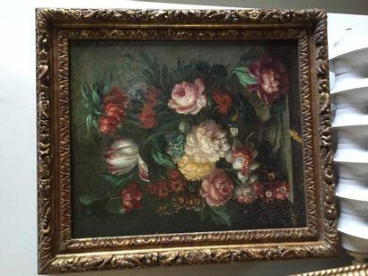 Ecole française, Bouquet de fleurs sur en...