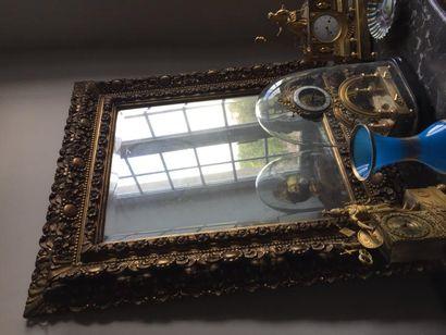 Grand miroir en bois doré, sculpté, ajouré,...