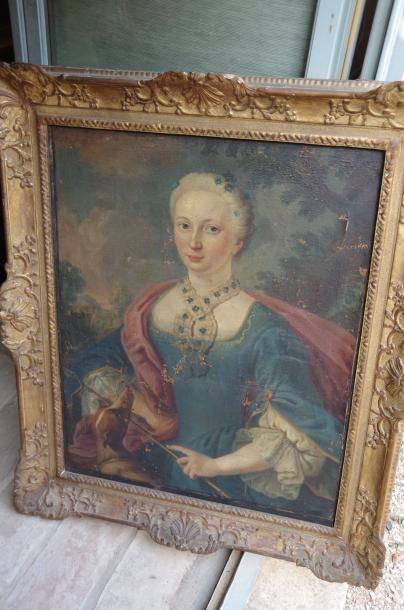 Ecole française, portrait d'une femme de...