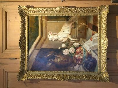 J.F.MEDARD, nature morte sur un escalier...