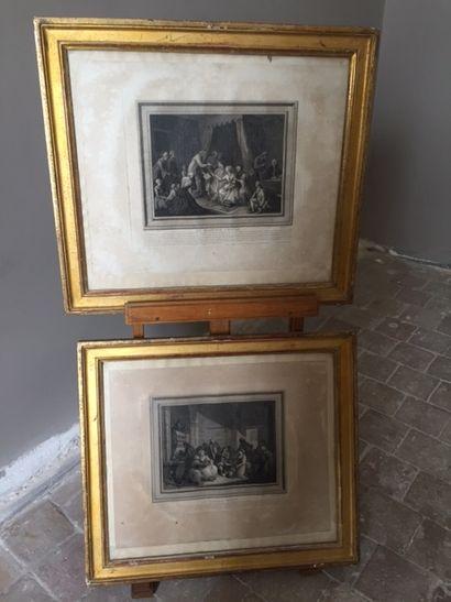 Paire de gravures en noir. Le mariage conclu et Le mariage rompu.  XIXème siècle.58x45...