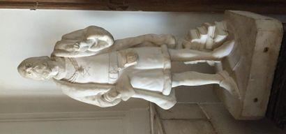 Sculpture en marbre représentant un explorateur?...