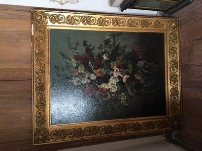 Hippolyte NOEL (1828-?)  Composition florale sur entablement.Huile sur toile.Signée...
