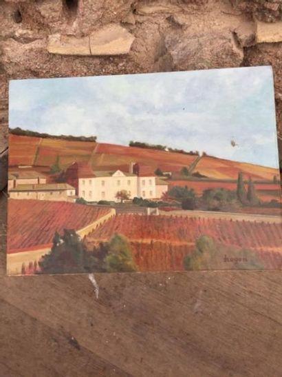 Une Huile sur panneau, représentant le Château...