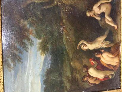 Ecole du Nord, deux huiles sur cuivre en pendant, représentant des scènes de bains....