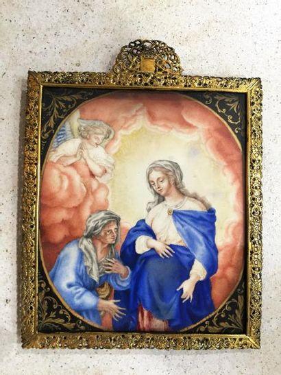 Gouache sur vélin, la Vierge enfantée, accompagnée...