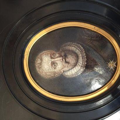 Henry IV, plaque en émail polychrome, cadre...