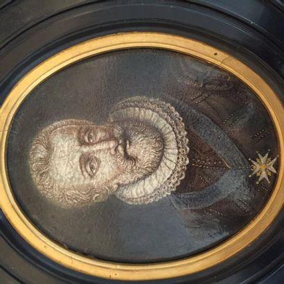 Henry IV, plaque en émail polychrome, cadre en bois noirci, étiquette au revers;...
