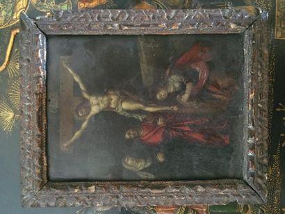 Ecole flamande, Crucifixion, huile sur cuivre,...