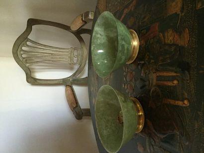 Paire de bols en néphrite, monture en bronze...
