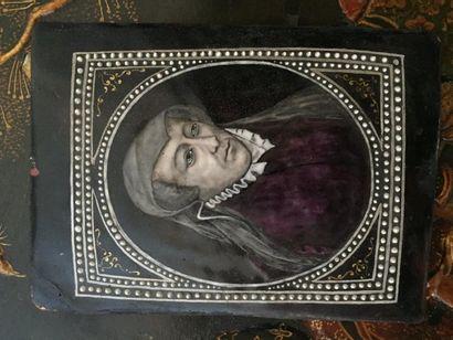 Plaque émaillée, portrait de Marie de Médicis,...