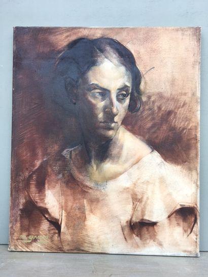 Maud GERARD (1915-2013).  Portrait de femme,...