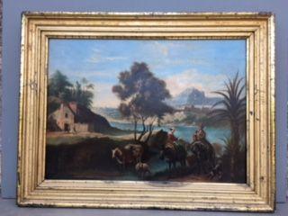 Ecole hollandaise XVIIIème siècle. La halte...
