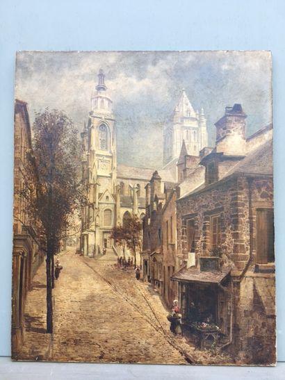Ecole française XIXème siècle, Vue de cathédrale....