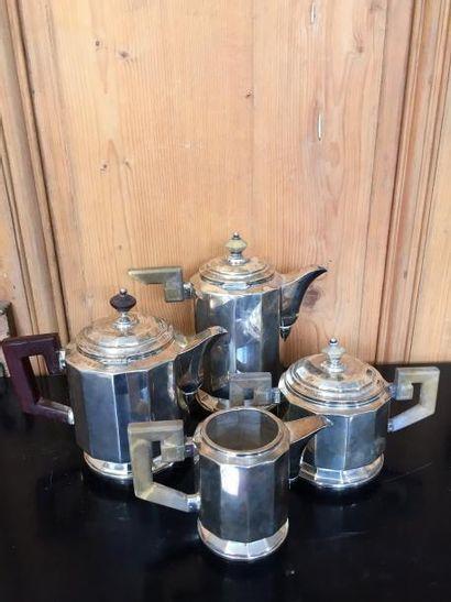 Service à thé et café et plateau en argent...