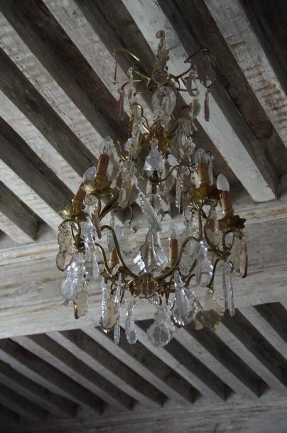 Lustre cage dans le style Louis XV à six...