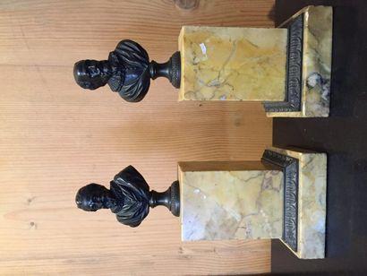 Henri IV et Sully, bustes en bronze à patine...