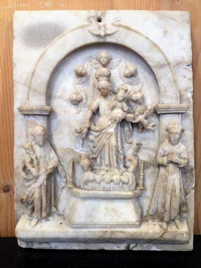 Europe du Nord, plaque en albâtre sculptée...