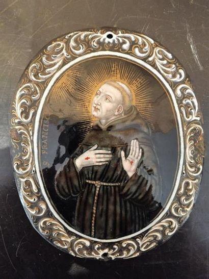 St François-Xavier.  Plaque en émail polychrome....