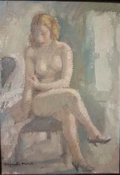 Henriette Morel (1883-1956) Modèle nu assis...
