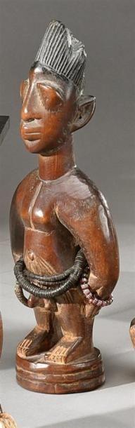 Statuette ibeji Yorouba, Nigeria Bois à patine...