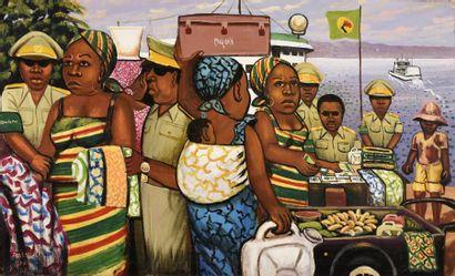 Moké (1950-2001) La douane, 1980 Huile sur...