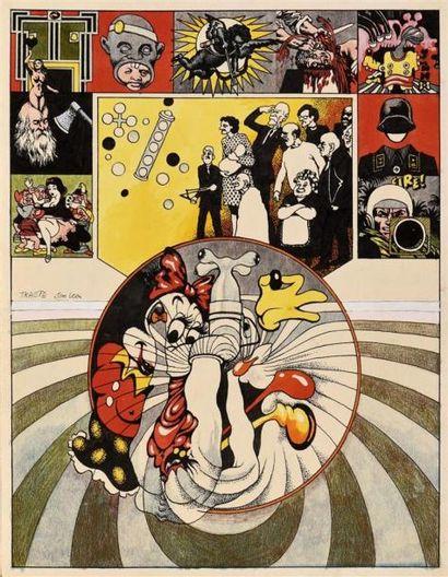 Jim Léon (1938-2002) Tracte Aquarelle, crayon...