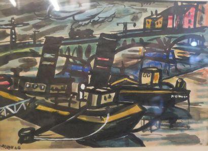 Raymond Grandjean (1929-2006) Bateaux, 1940...