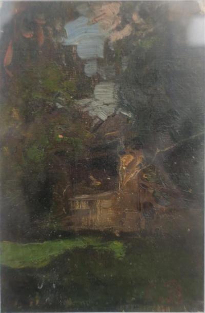 Eugène Baudin (1843-1907) Paysage Huile sur papier Signée des initiales en bas à...