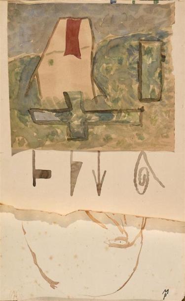 Mimmo Paladino (né en 1948) Sans titre Aquarelle...