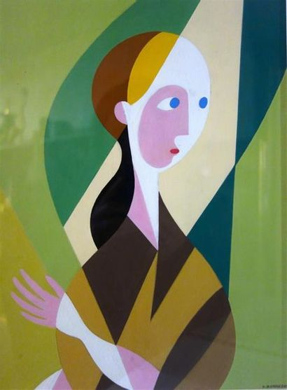 Paul Bernezat (1896-1987) «Portrait de femme»...