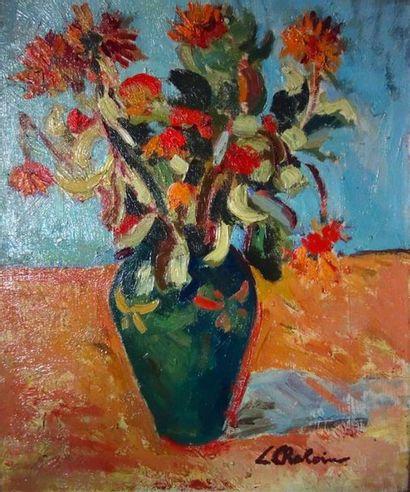 Léon Chaloin (1920-1982) «Le pot de fleurs»...