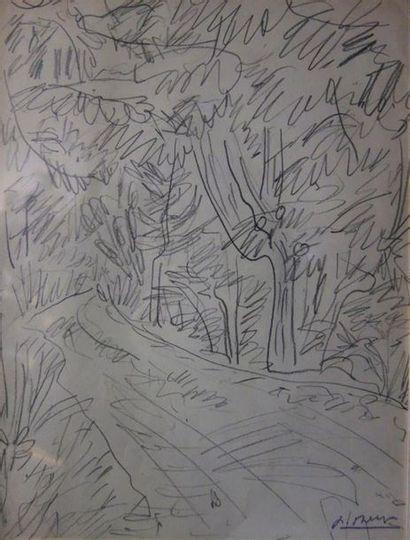Paul Bernezat (1896-1987) «Route en forêt»...