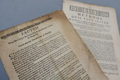 AVEYRON. 2 factums imprimés, XVIIe-XVIIIe....