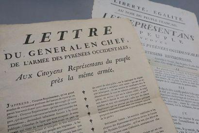 ARMÉE DE PYRÉNÉES OCCIDENTALES. 2 affiches...