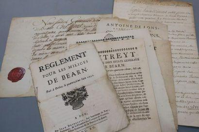 BÉARN. 8 documents, XVIIe-XVIIIe. - 4 imprimés...