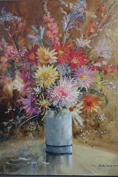 Fleurs du vase bleu Huile sur toile Signé...