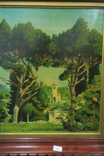 Paysage avec une chapelle Huile sur toile...