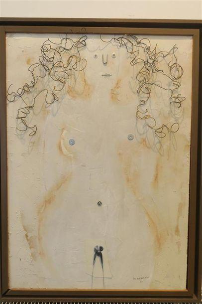 Femme sur fond blanc, technique mixte, cheveux...