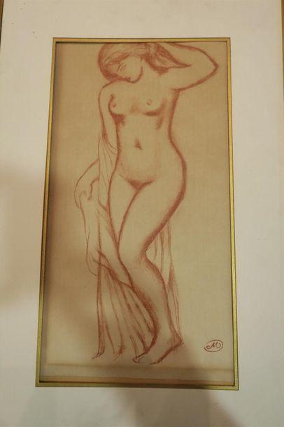 Etude de nu féminin, sanguine sur papier....