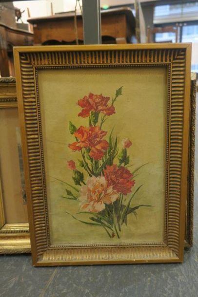 Bouquet de fleurs, Huile sur toile, monogrammée...