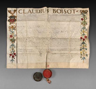 Licence de droit de François Antoine JEANNOT de MONCEY (1721-1775), père du Maréchal...