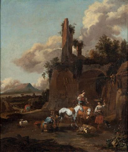 Dirck van BERGEN (Haarlem 1649 - 1700) Bergères dans un paysage Toile 83 x 66 cm