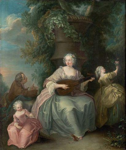 Attribué à Charles Amédée Philippe van LOO (1719 - Paris 1795) Scènes galantes Paire...